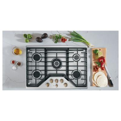 30 in. Gas Cooktop in Stainless Steel and Brushed Bronze with 5 Burners including 20,000 BTU Triple Ring Burner