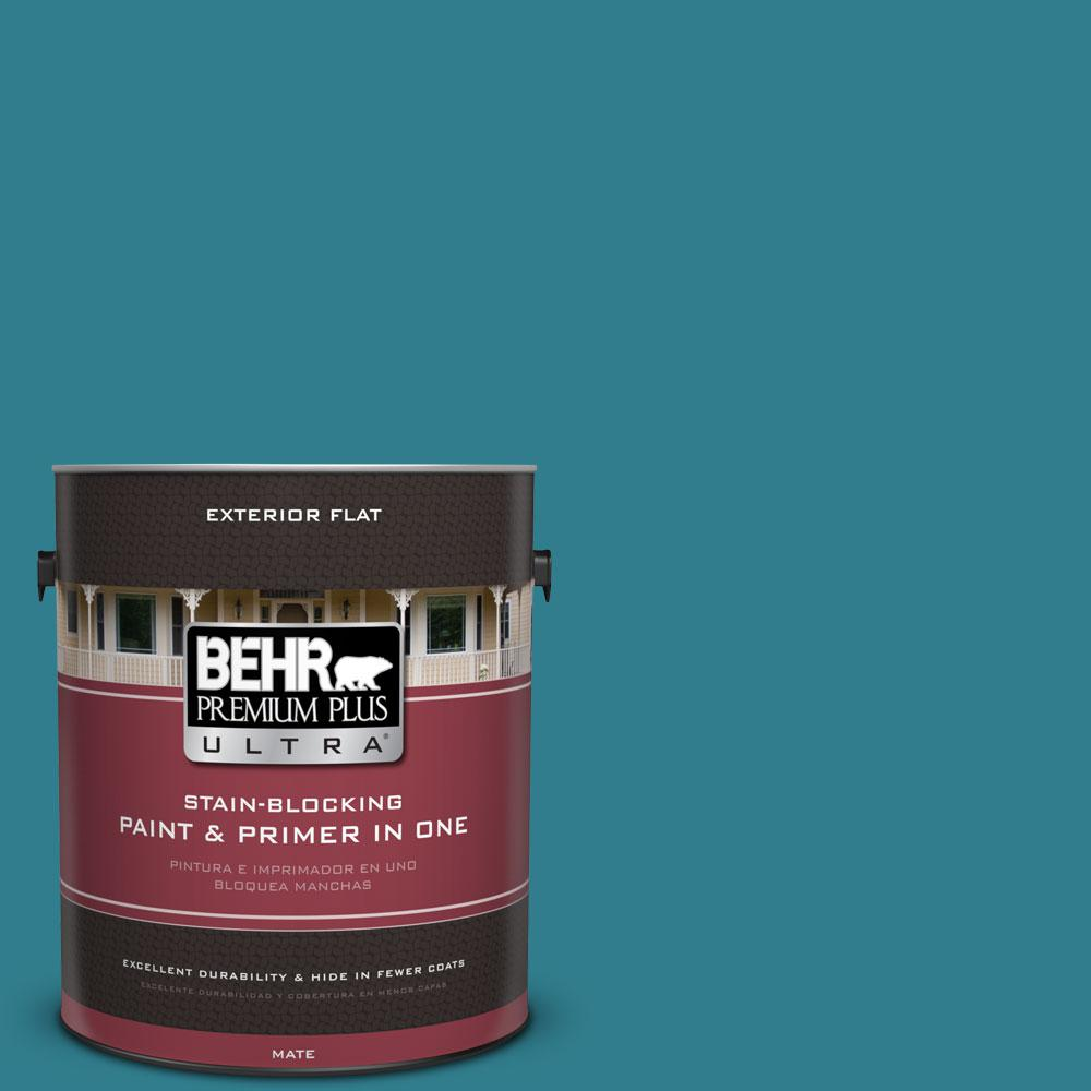 BEHR Premium Plus Ultra Home Decorators Collection 1-gal. #HDC-CL-27 Calypso Blue Flat Exterior Paint