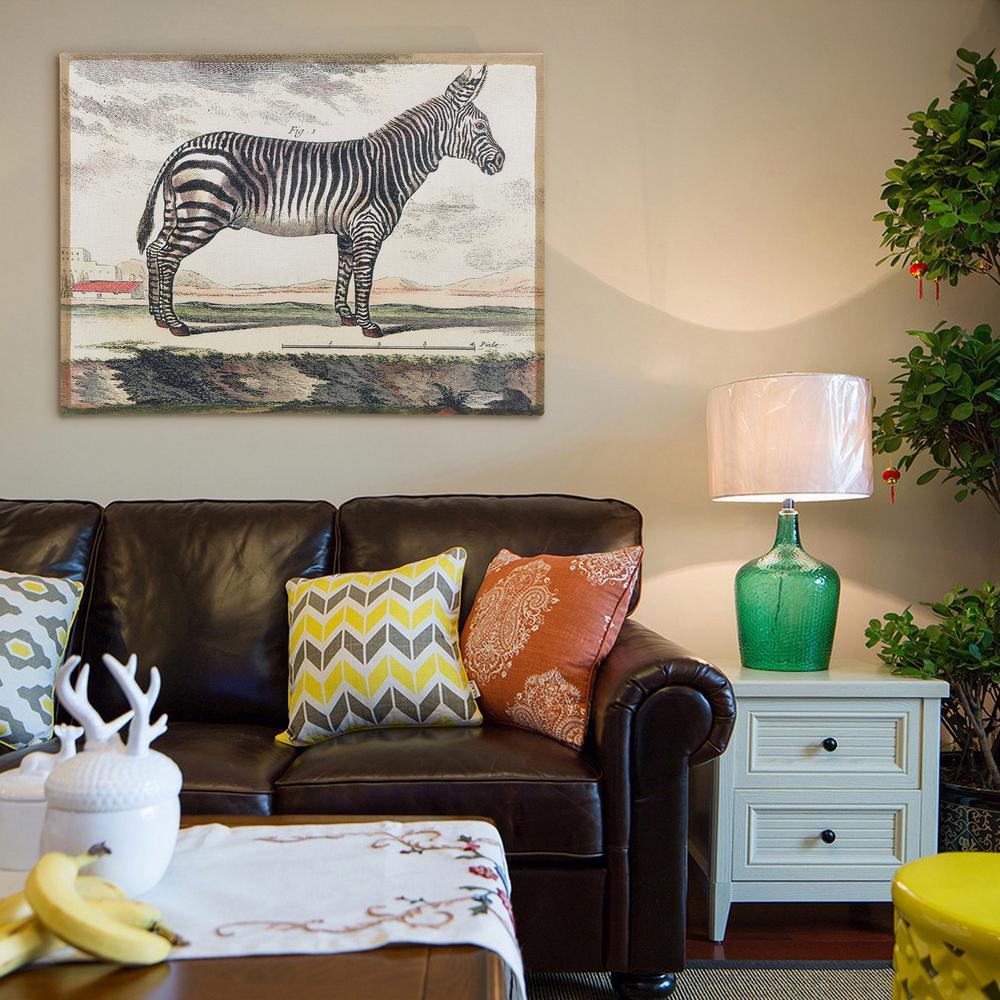"30 in. x 40 in. ""Diderot Zebra"" Antique Fresco Printed on Hand Applied Plaster Jute"