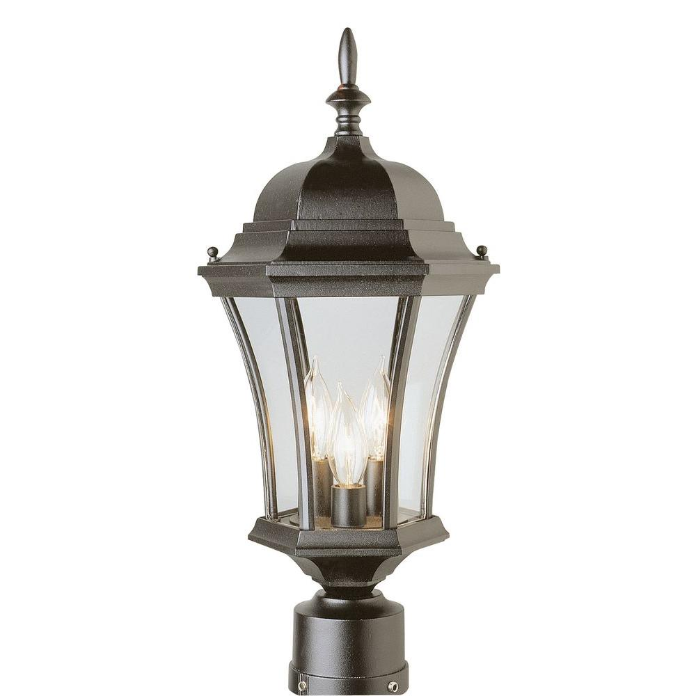 Bel Air Lighting Cabernet Collection 3 Light 21.25 in. Outdoor Black Gold Post Lantern with Clear Curved Shade