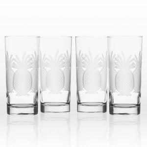 Pineapple 15 oz. Clear Highball Glass (Set of 4)