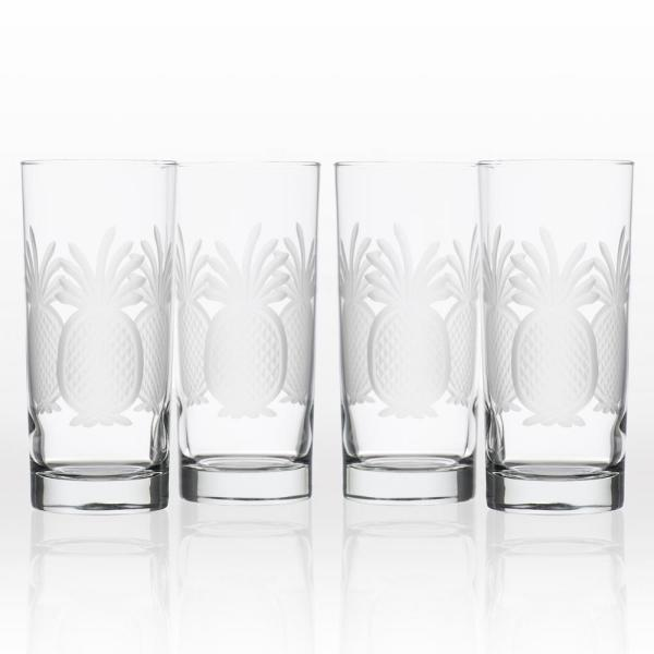 Rolf Glass Pineapple 15 oz. Clear Highball Glass (Set of 4)