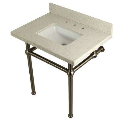 Square-Sink Washstand 30 in. Console Table in White Quartz with Metal Legs in Satin Nickel