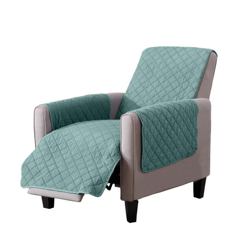 Great Bay Home Laurina Collection Aqua Stonewashed Reversible Recliner  Furniture Protector
