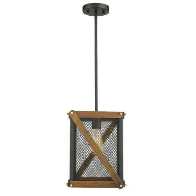 Carson II 1-Light Black and Dark Brown Wood LED 9 in. Pendant