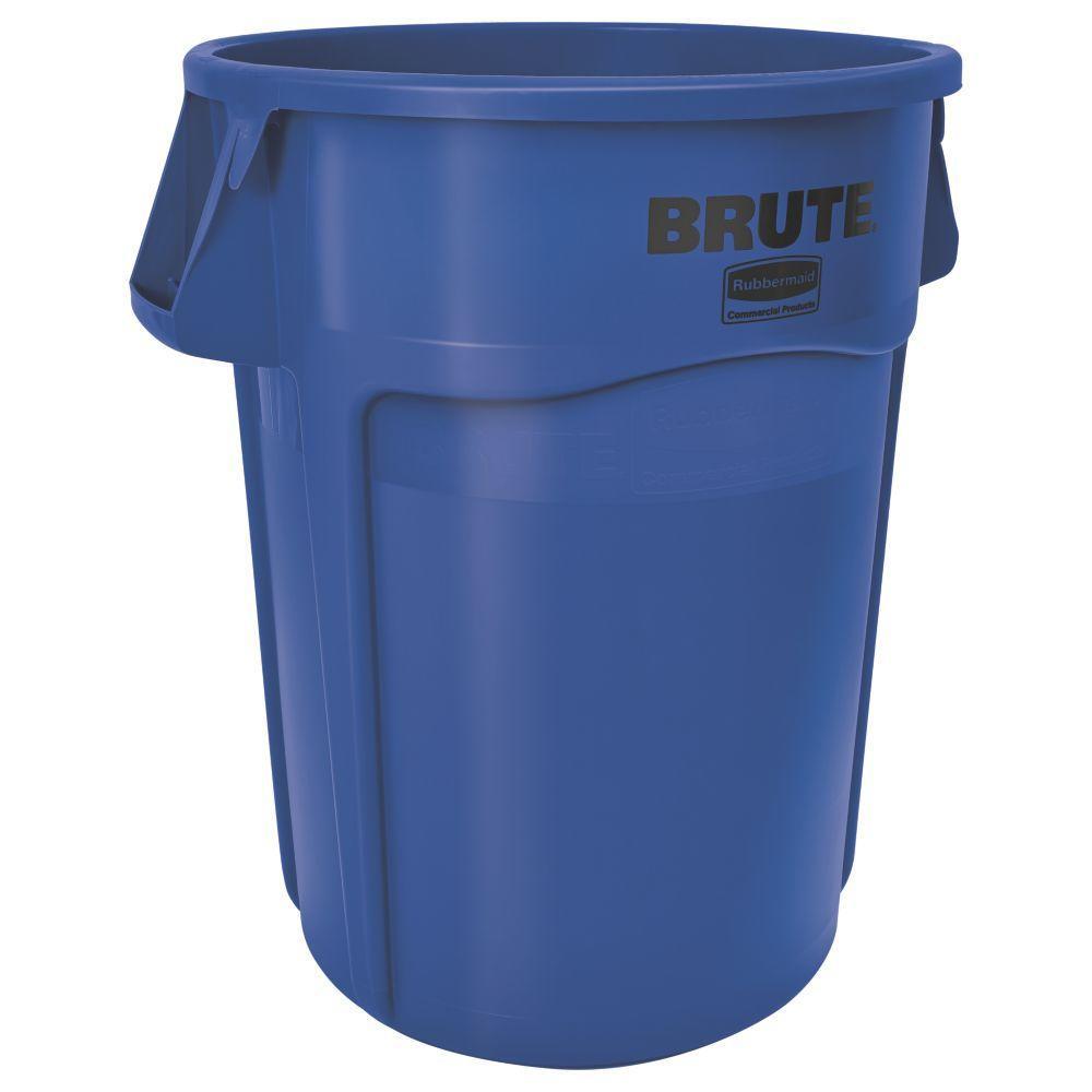 Brute 32 Gal. Blue Round Vented Trash Can