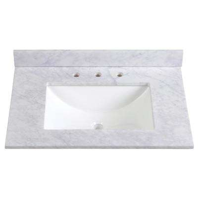 31 in. W Stone Effects Vanity Top in Carrera with White Basin