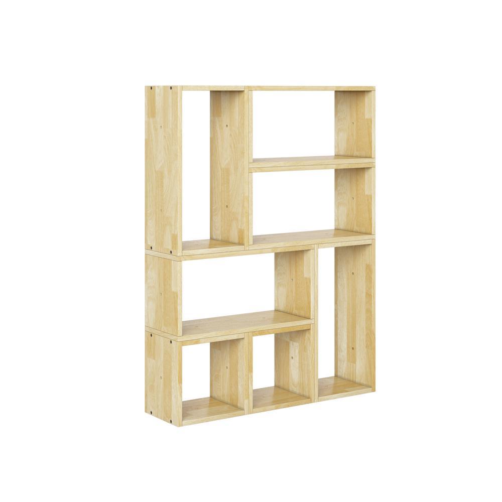 Freemont Natural Modern 7-Block Wood Shelving Set