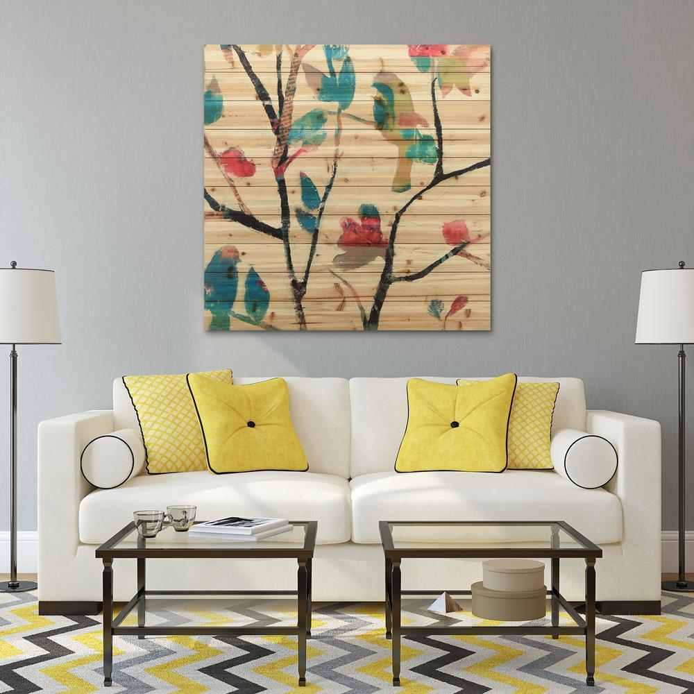 "40 in. x 40 in. ""Woodland Story 2""Arte de Legno Digital Print on Solid Wood Wall Art"