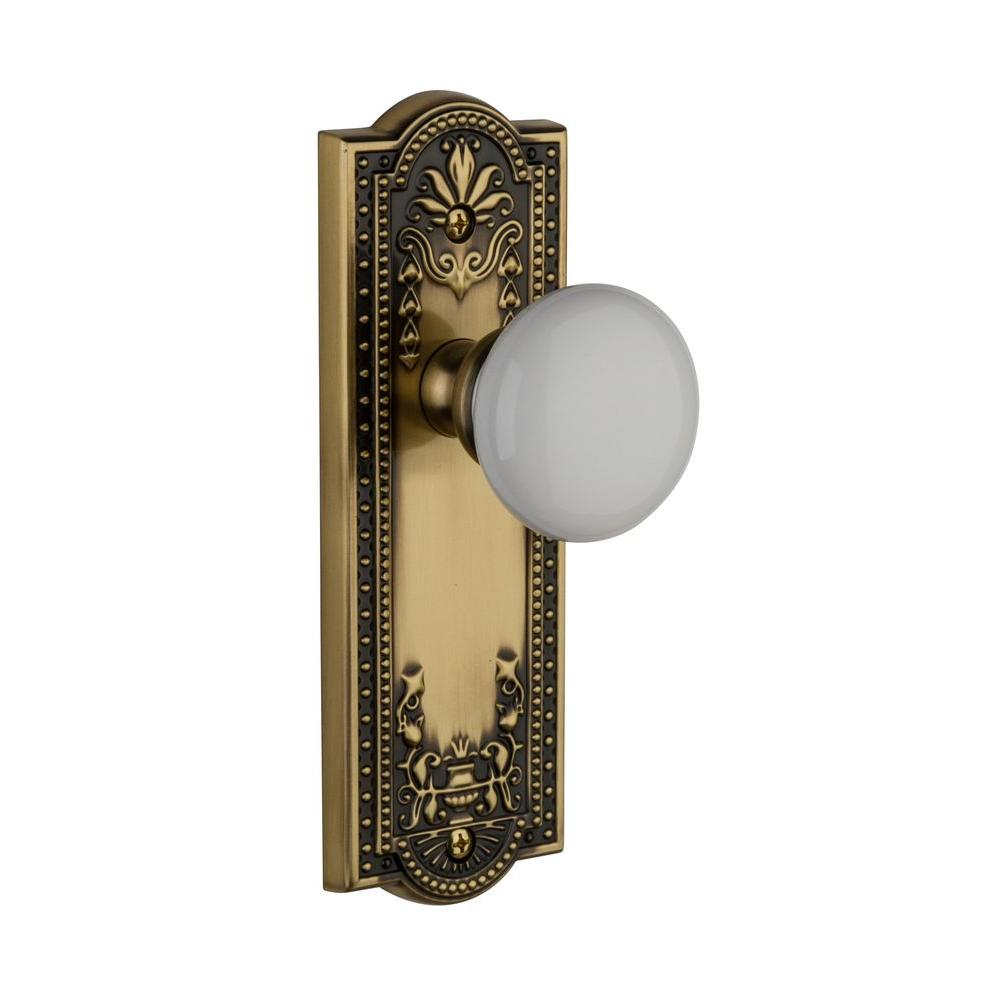 Grandeur Parthenon Vintage Brass Plate with Privacy Hyde Park Knob