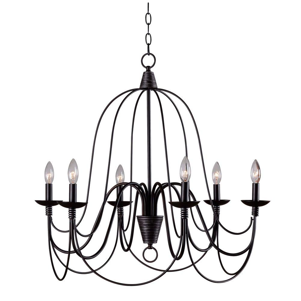 Kenroy Home Pannier 6-Light Oil-Rubbed Bronze with Silver Highlights Chandelier