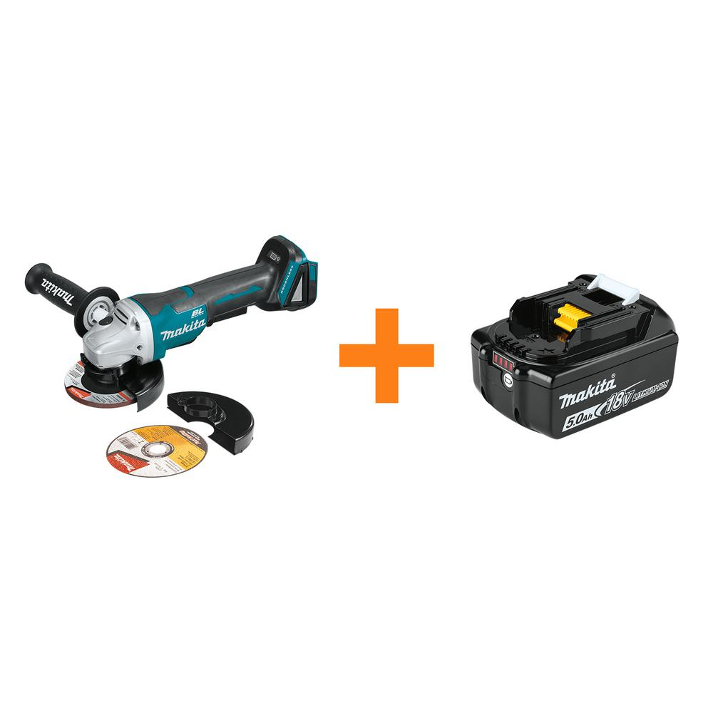 Makita 18V LXT Brushless 4-1/2 in./5 in. Paddle Switch Cut-Off/Angle Grinder with Bonus 18V LXT Battery Pack 5.0Ah was $318.0 now $189.0 (41.0% off)