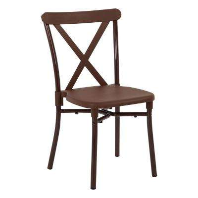 Brown Aluminum Stacking Dining Chair (4-Pack)