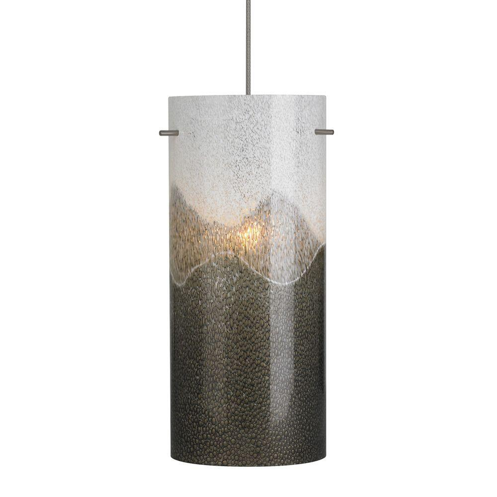 Dahling 1-Light Bronze Xenon Mini Pendant with Gray-Opal Shade