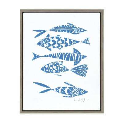 "Sylvie ""Fishes Blue"" by Giuliana Lazzerini Framed Canvas Wall Art"