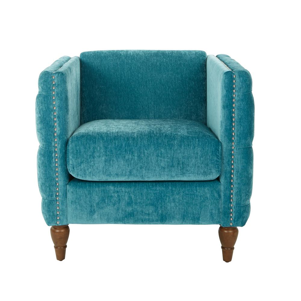 OSP Home Furnishings Evie Aqua Fabric Tufted Chair with Coffee Legs, Aqua Polyester OSP Home Furnishings Evie Aqua Fabric Tufted Chair with Coffee Legs, Aqua Polyester