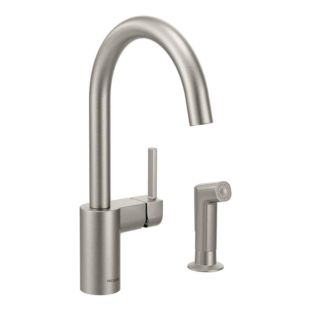 MOEN Align Single-Handle Standard Kitchen Faucet with Side Sprayer in Spot Resist Stainless