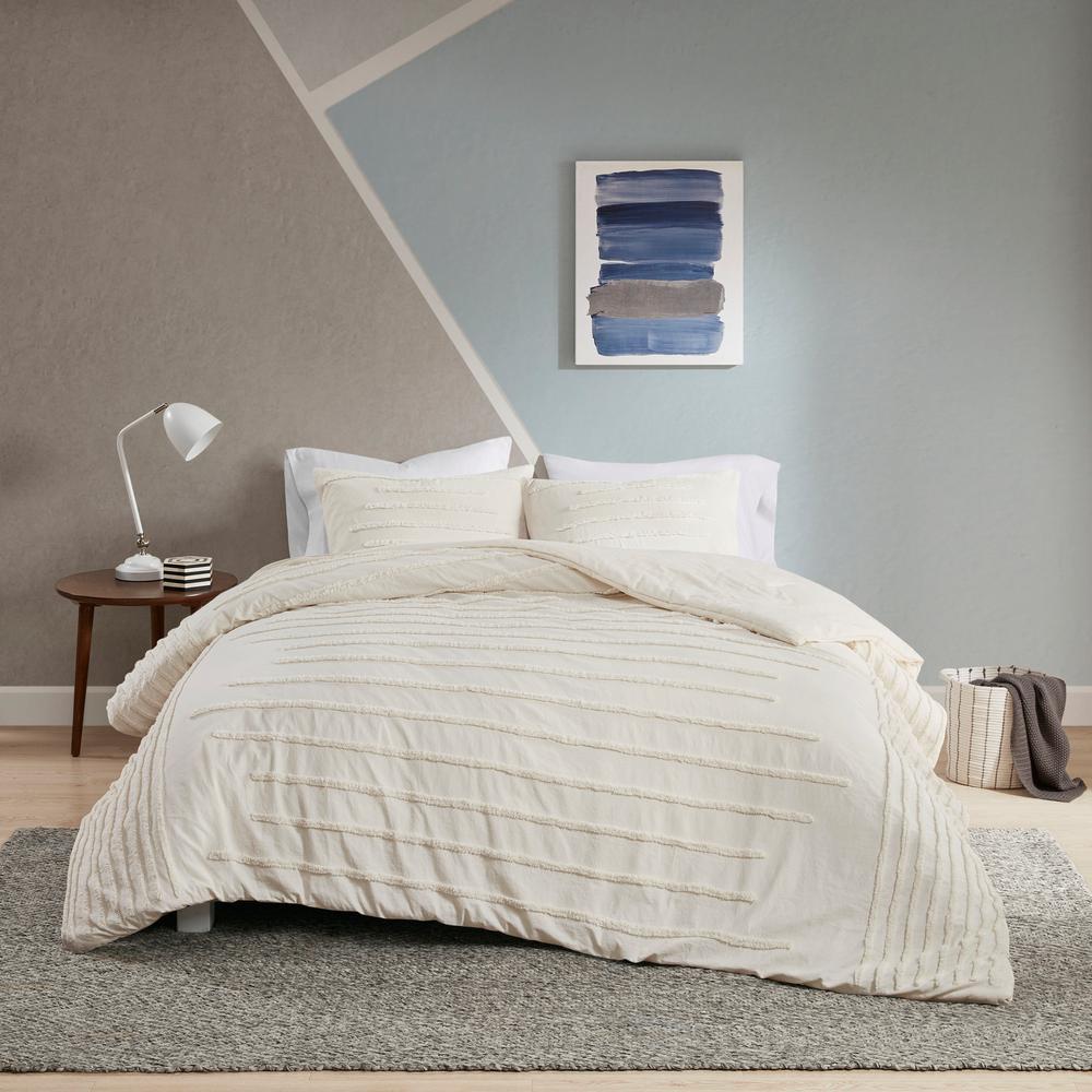 Camden 3-Piece Ivory Full/Queen Cotton Chenille Comforter Set