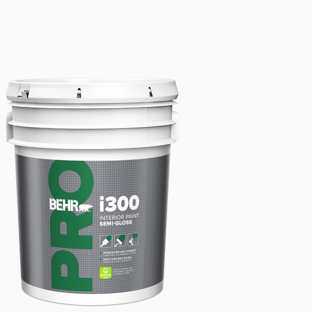 BEHR PRO 5 Gal. I300 White Semi-Gloss Interior Paint