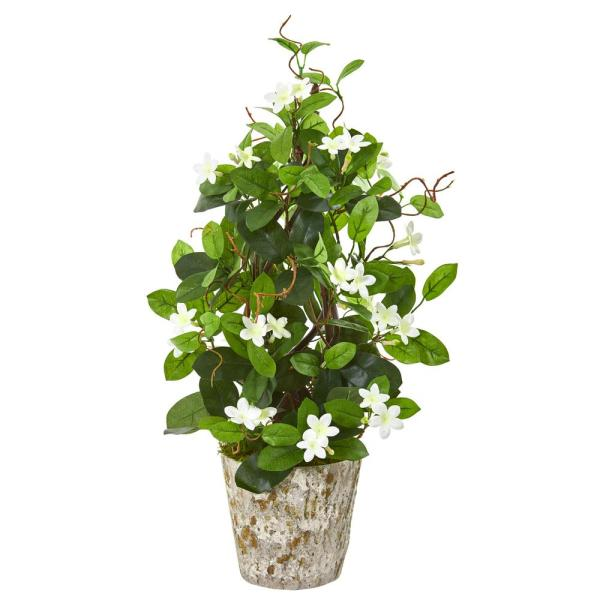 25 in. Stephanotis Artificial Climbing Plant in Weathered Planter
