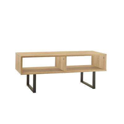 39.5 in W x 15.8 in. D Natural Coffee Table with Decorative Shelf