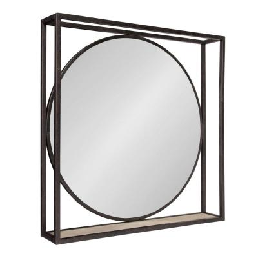 Medium Square Black Shelves & Drawers Classic Mirror (23.75 in. H x 23.75 in. W)