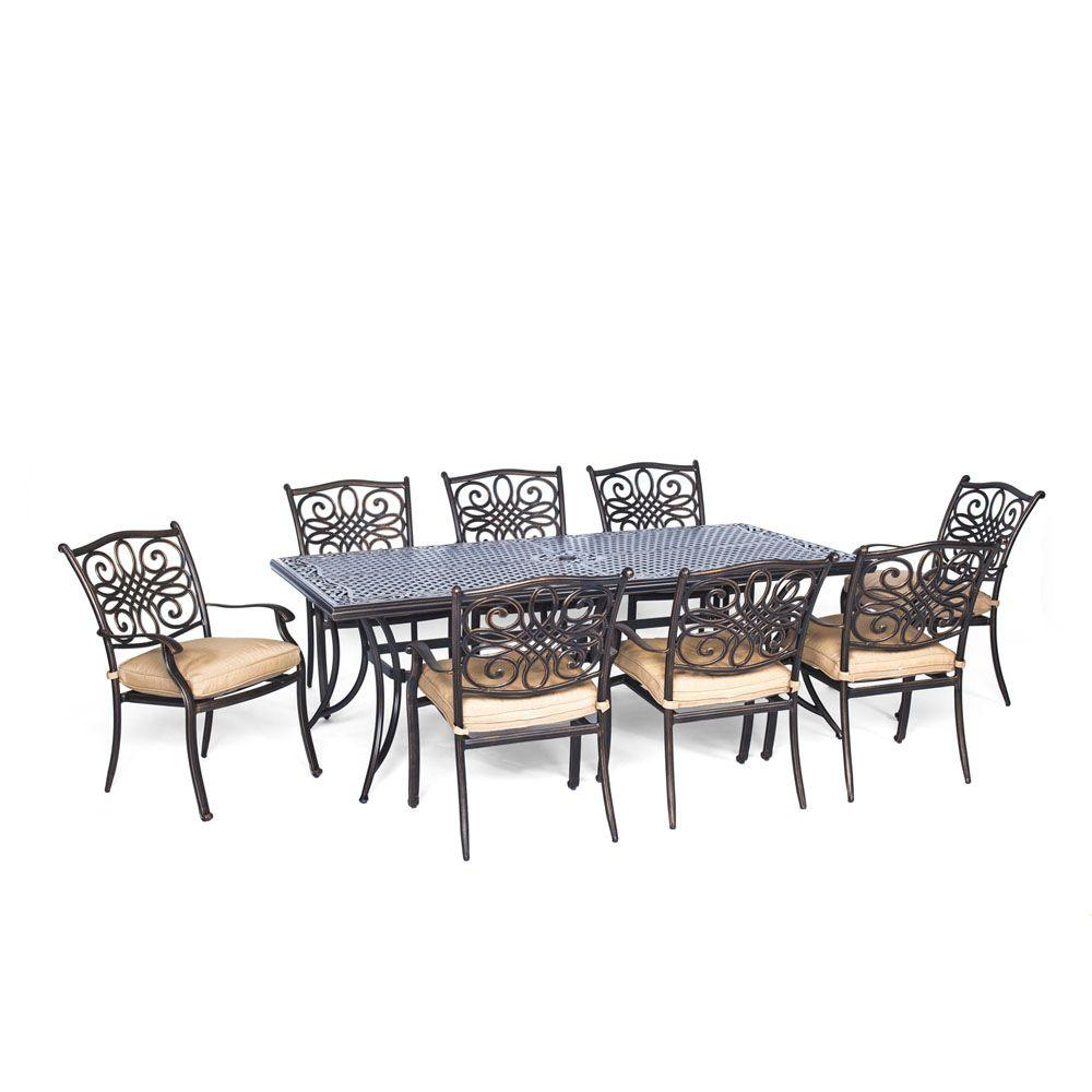 Hanover Traditions 9 Piece Aluminium Rectangular Patio Dining Set With Natural Oat Cushions