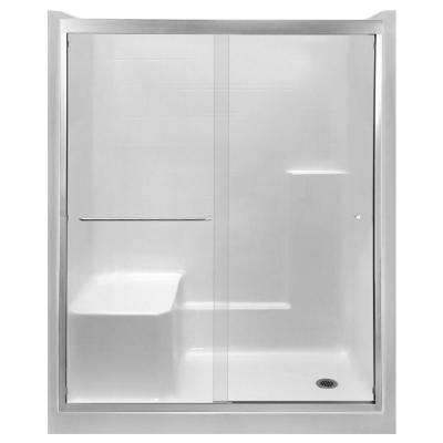 Duo 55 in. x 70 in. Framed Sliding Shower Door in Brushed Nickel with 6 mm Clear Glass Without Handle