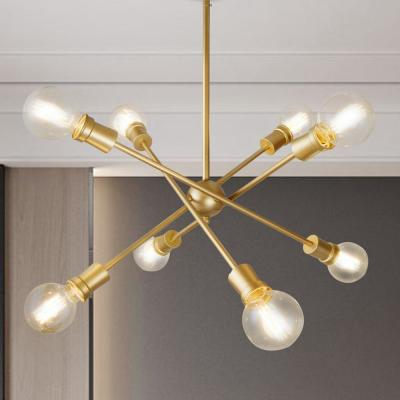 Adjustable 25 in. 8-Light Modern Gold Farmhouse Kitchen Island Chandelier with Sputnik Style