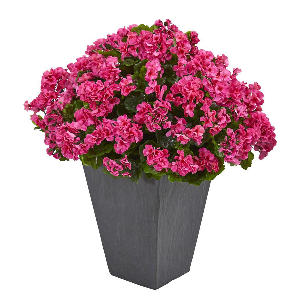 Indoor/Outdoor UV Resistant Pink Geranium Artificial Plant in Slate Plater