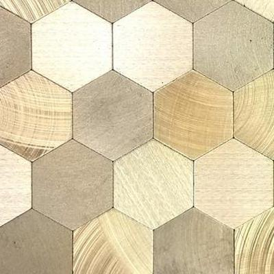 Enchanted Metals Gold Hexagon Mosaic 12 in. x 12 in. Brushed Peel & Stick Wall Tile (0.9 sq. ft.)