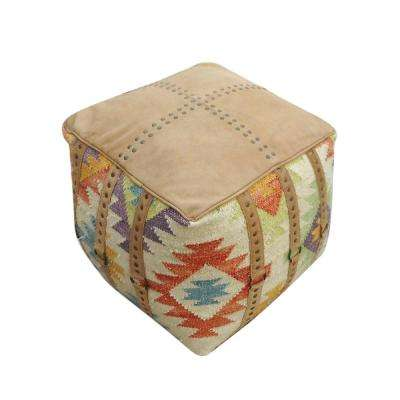 Harlety Multi-Color Wool and Leather Pouf