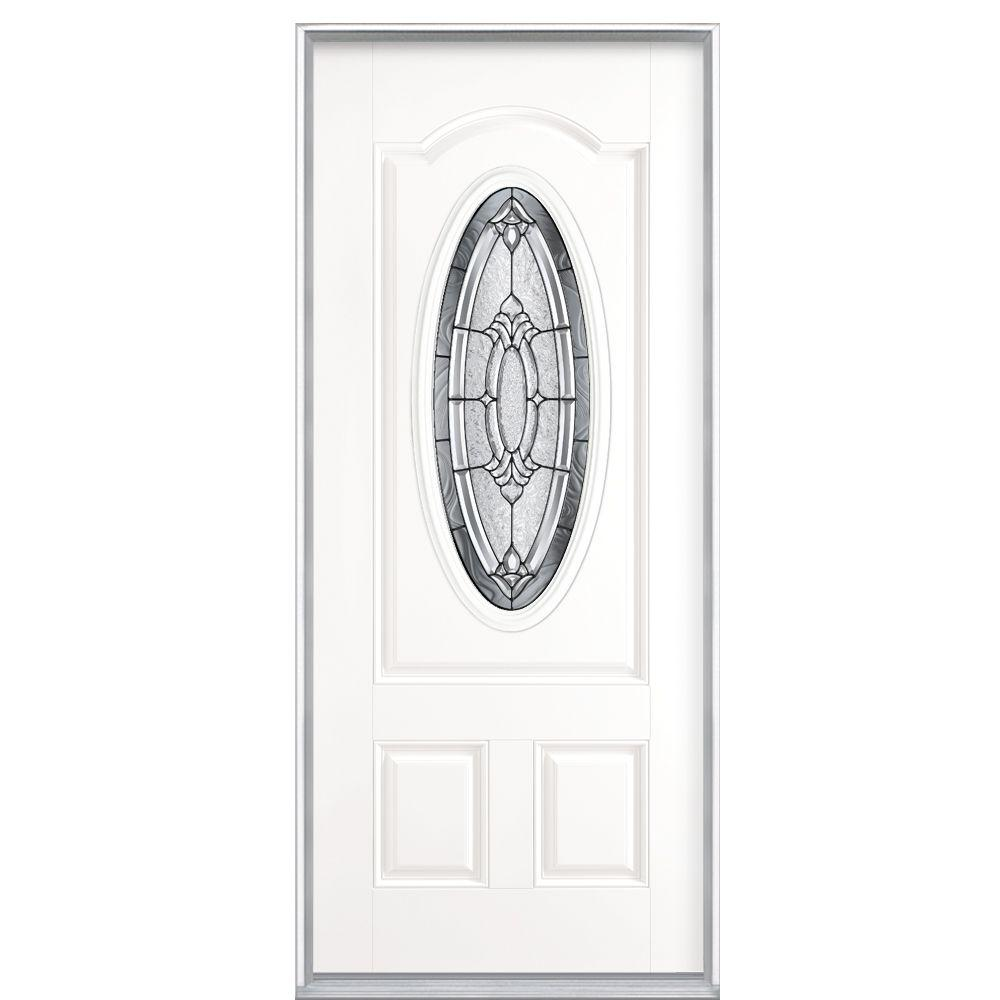 Masonite 36 in. x 80 in. Providence 3/4 Oval Lite Left Hand Inswing Primed Smooth Fiberglass Prehung Front Door No Brickmold
