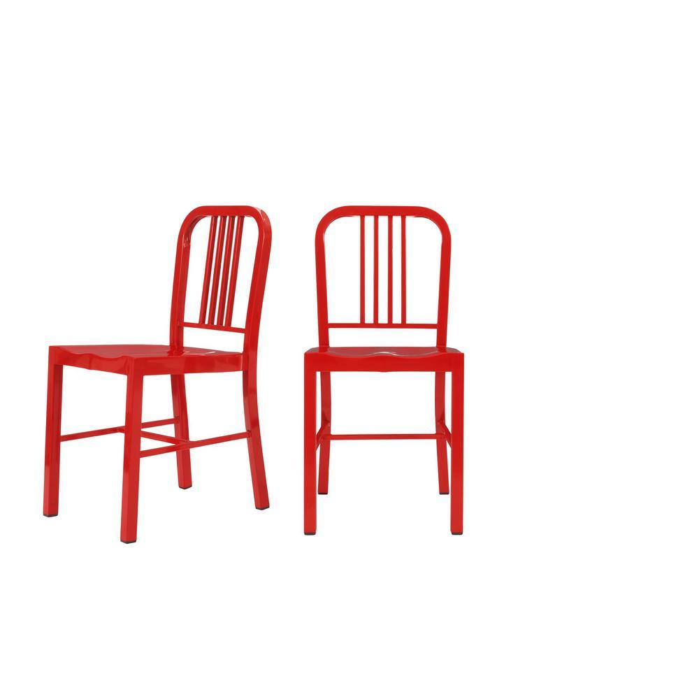 Kipling Ruby Red Metal Dining Chair (Set of 2) (15.94 in. W x 32.67 in. H)