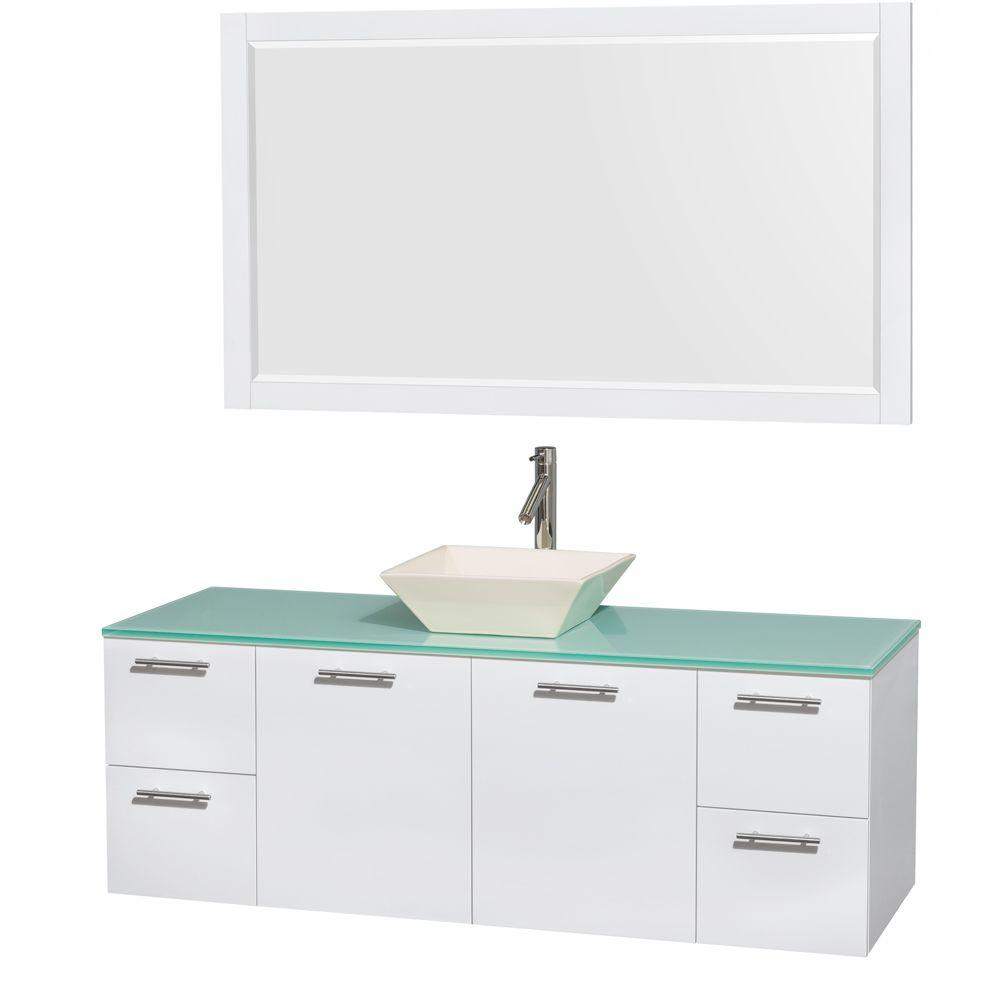 Wyndham Collection Amare 60 in. Vanity in Glossy White with Glass Vanity Top in Green, Porcelain Sink and 58 in. Mirror