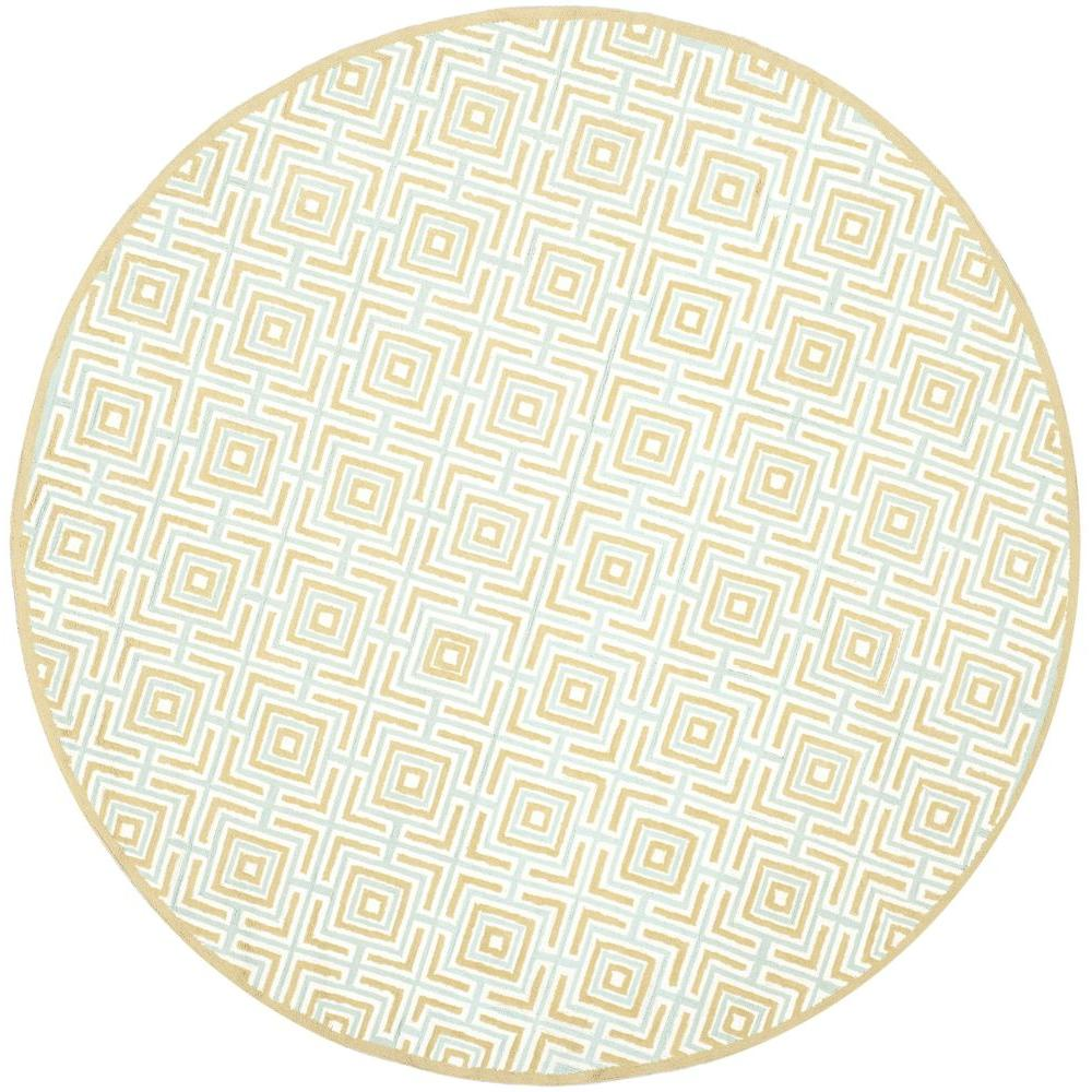 Newport Olive/Light Blue 6 ft. x 6 ft. Round Area Rug