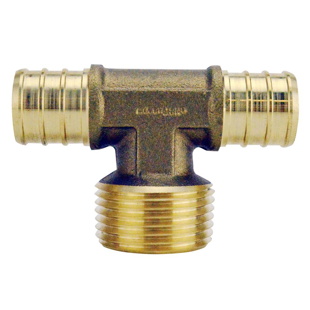 "1/"" X 3//4/"" X 3//4/"" TEE POLY ALLOY LEAD FREE CRIMP FITTINGS 10 PEX B CUPC NSF"