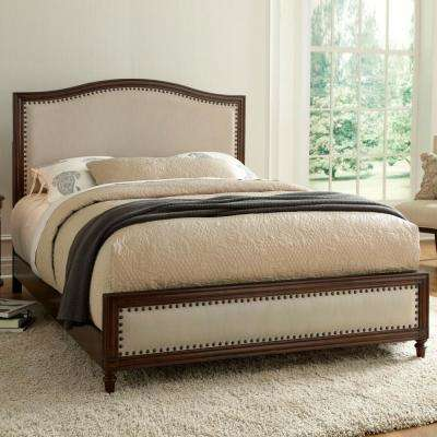 Grandover Espresso Queen-Size Platform Bed with Detailed Wooden Frame and Cream Upholstery
