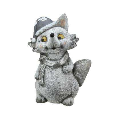 18 in. Snow Dusted Glitter Silver Fox Christmas Table Top Decoration