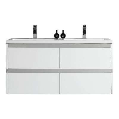Durante 48 in. W x 18.3 in. D Vanity in White with Resin Vanity Top in White with White Basin