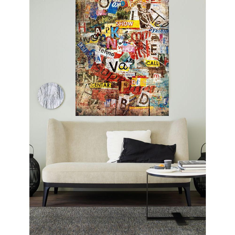 Ideal Decor 69 in. x 45 in. Grunge Typo Wall Mural