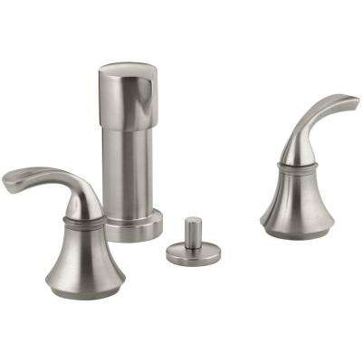 Forte 2-Handle Bidet Faucet in Vibrant Brushed Nickel with Sculpted Lever Handles