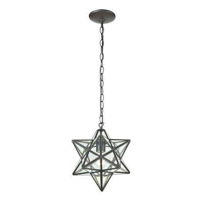 Star 1-Light Clear Glass and Oiled Bronze Pendant Lamp