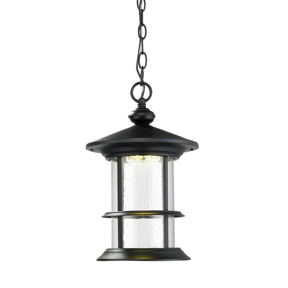 Burnim 1-Light Black LED Outdoor Hanging Lantern with Clear Seedy Glass