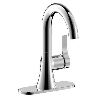 Varenne 4 in. Centerset Single-Handle Modern Bathroom Faucet with Deck Plate and Pop-Up Assembly in Chrome
