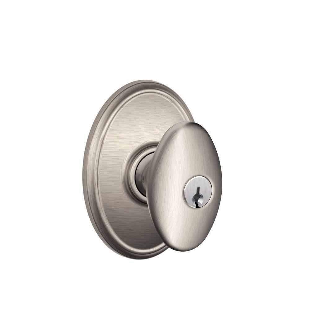 Schlage Wakefield Collection Satin Nickel Siena Keyed Entry Knob