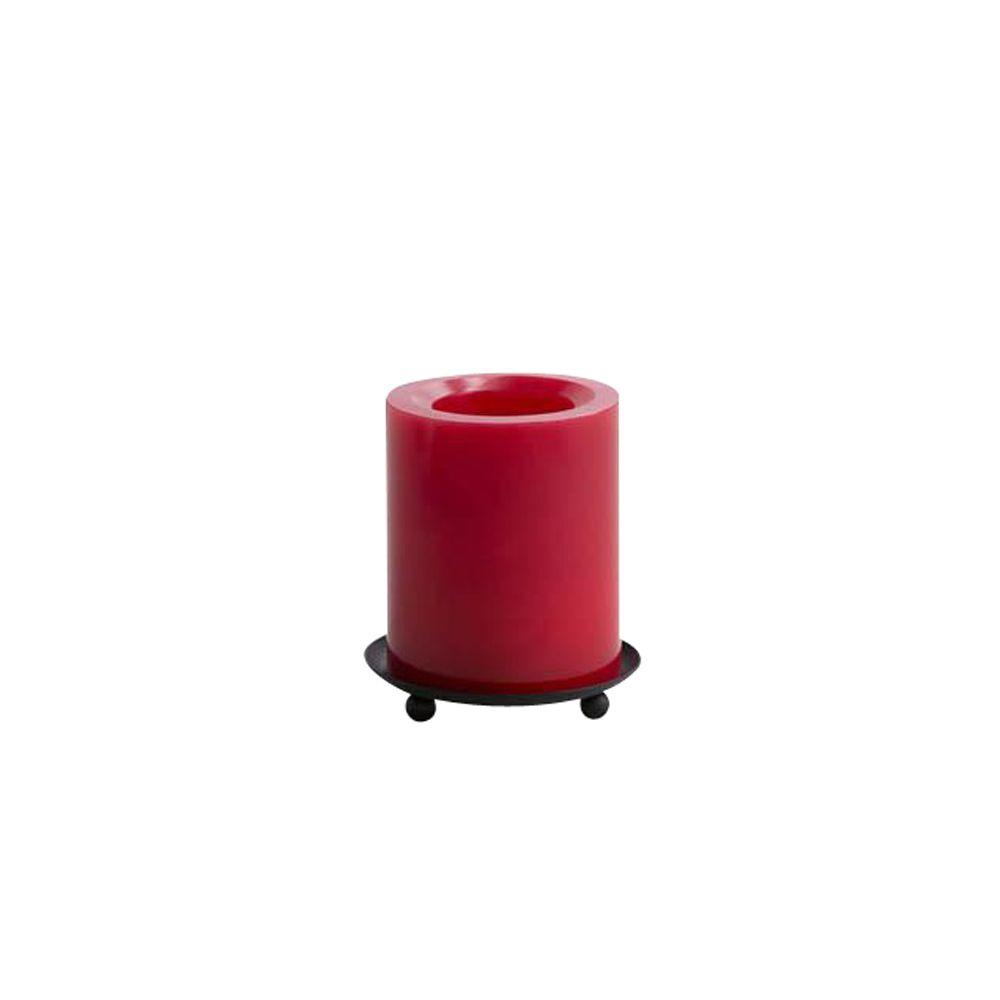 Home Decorators Collection 4 in. H Smooth Red Flameless Candle Pillar