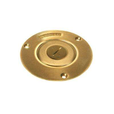 3-7/8 in. Round Brass Floor Box Cover with Threaded 1 in. Combination Plug