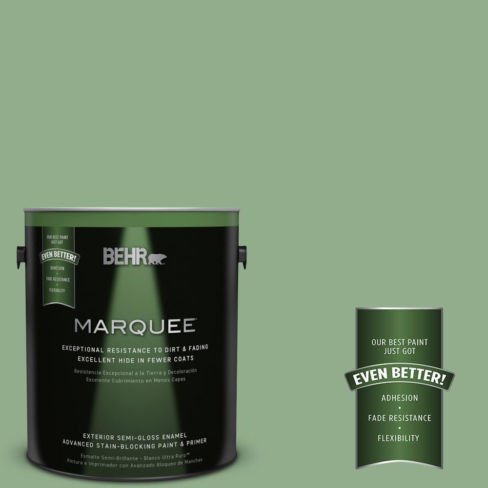BEHR MARQUEE 1-gal. #MQ6-46 Flora Green Semi-Gloss Enamel Exterior Paint