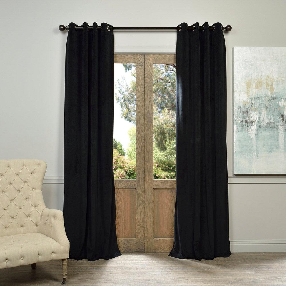 Exclusive Fabrics & Furnishings Blackout Signature Warm Black Grommet Blackout Velvet Curtain - 50 in. W x 108 in. L (1 Panel)